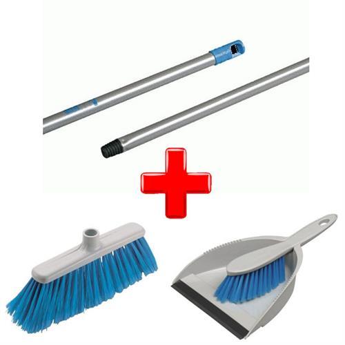 Vileda Eco Broom Set + Stick + Dustpan with brush
