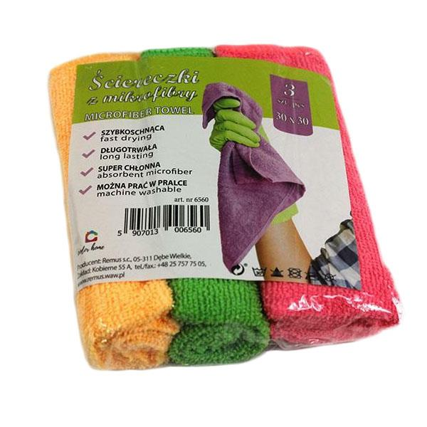 Sponges, cloths and brushes - Zestaw 3 Ścierek Z Mikrofibry 30x30 6560 R -